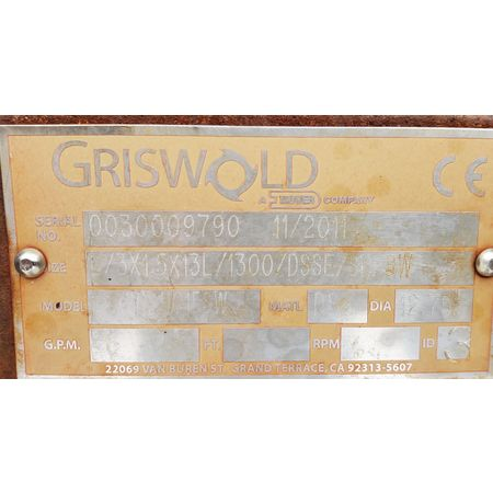 Image 125 HP GRISWOLD L/3X1.5X13L Dover Centrifugal Pump  1464925