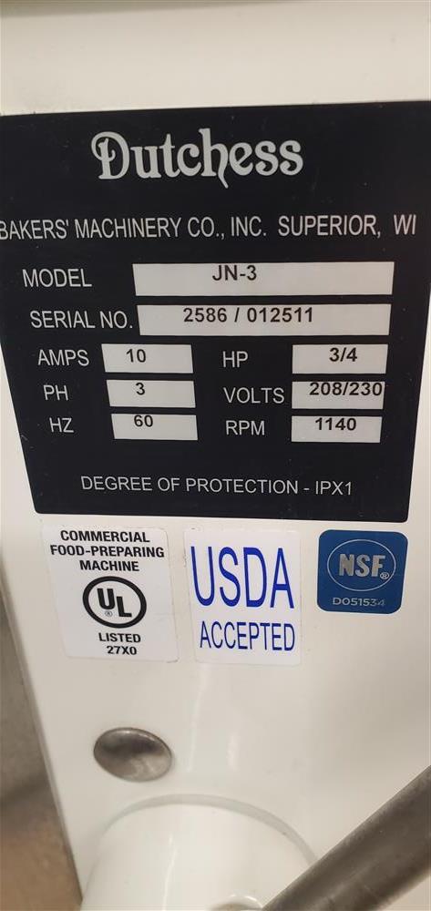 Image DUTCHESS Semi-Automatic Dough Divider/Rounder - USDA 1464985