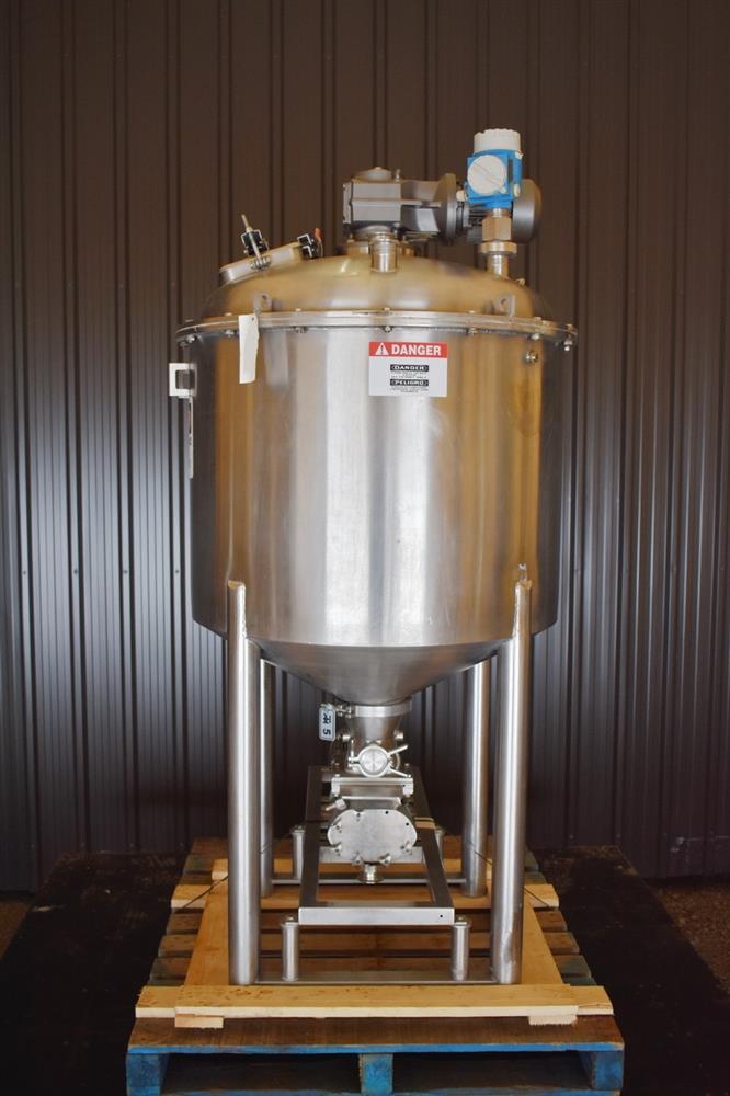Image 100 Gallon Jacketed Tank with Scrape Agitation and WAUKESHA Pump 1465261