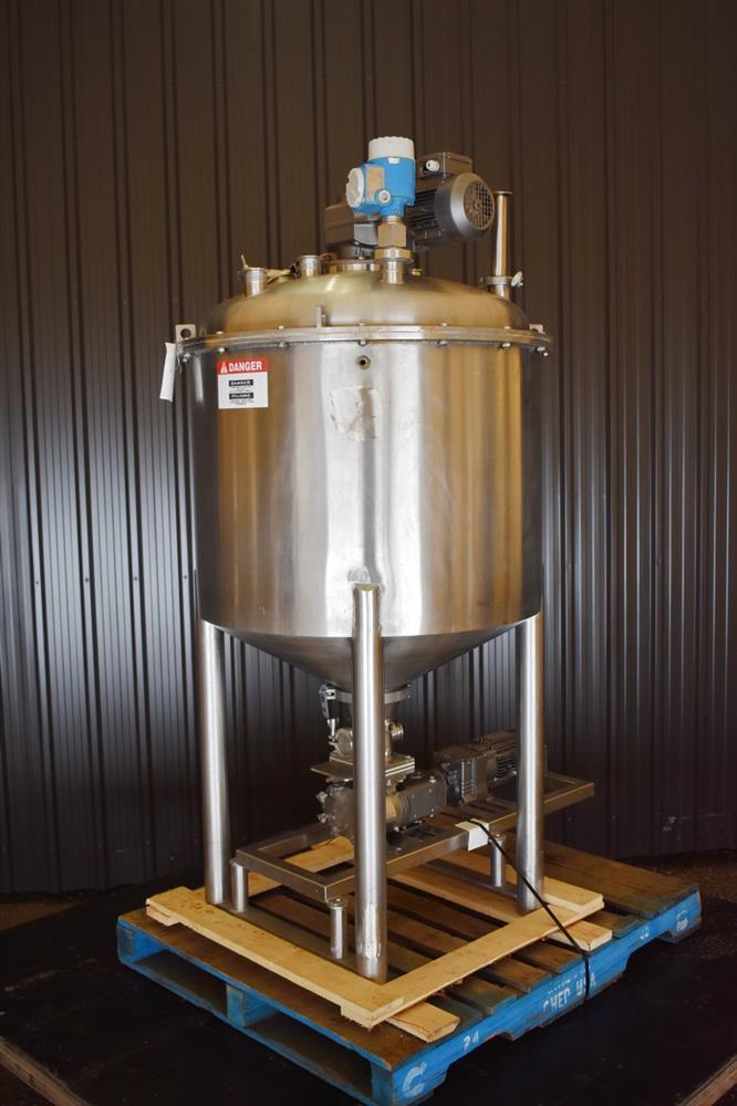 Image 100 Gallon Jacketed Tank with Scrape Agitation and WAUKESHA Pump 1465262