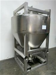 Image 1800 Liter LB BOHLE IBC Powder Blending Tank with Pneumatic Bottom Valve - Stainless Steel  1467910