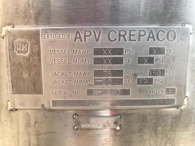 Image 500 Gallon APV CHESTER JENSEN Jacketed Scrape Double Motion Kettle - Stainless Steel  1474716