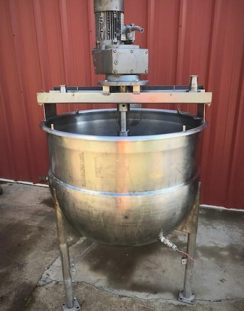Image 100 Gallon MUELLER Jacketed Scrape Single Motion Mixing Kettle - Food Grade, Stainless Steel  1475114
