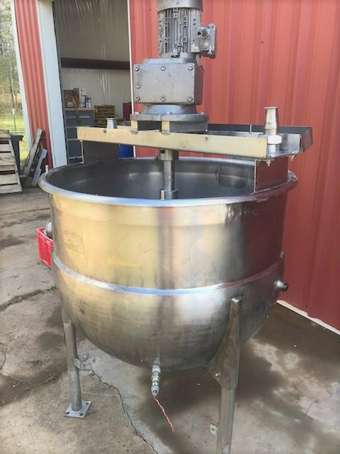 Image 100 Gallon MUELLER Jacketed Scrape Single Motion Mixing Kettle - Food Grade, Stainless Steel  1475115