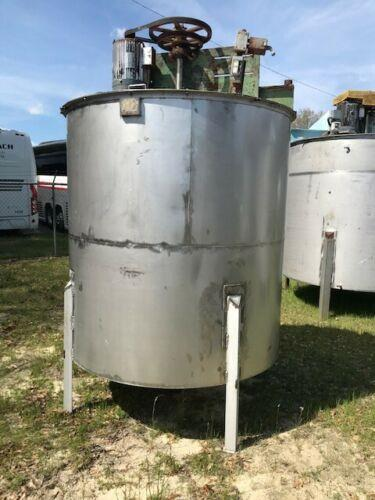 Image 1200 Gallon Vertical Mixing Tank with 5 HP Agitation and Cone Bottom - 304 Stainless Steel  1475140