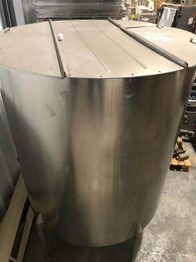 Image 1000 Gallon PERMA-SAN Vertical Holding Lid Dish Bottom Tank - 316 Stainless Steel  1475155
