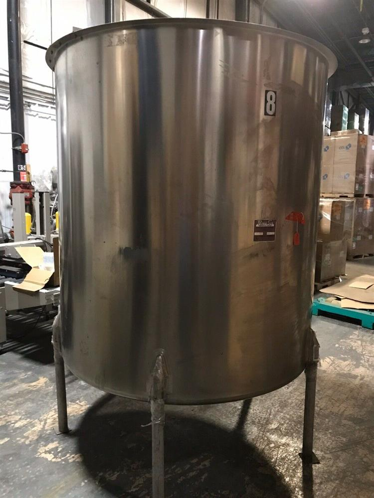 Image 1000 Gallon PERMA-SAN Vertical Holding Lid Dish Bottom Tank - 316 Stainless Steel  1475158