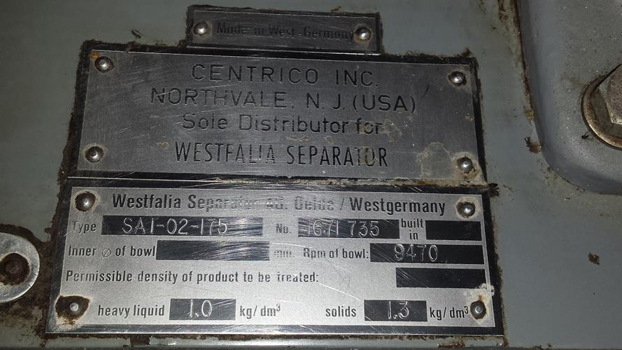 Image WESTFALIA SA1-02-175 High Speed Separator/Centrifuge 1486298