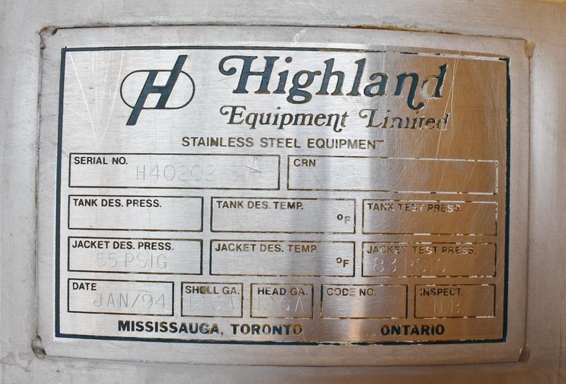 Image 100 Gallon HIGHLAND Jacketed Tank with LIGHTNIN Mixer 1486494
