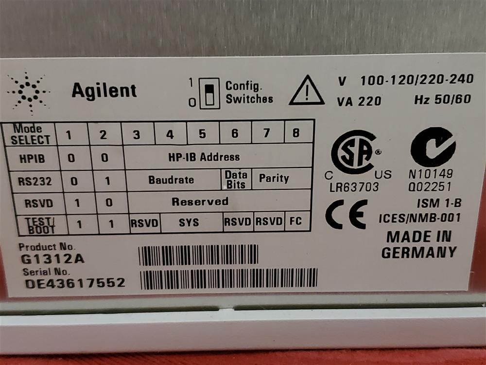 Image AGILENT 1100 Series Binary Pump with Micro Degasser and 2 Trays  1490653