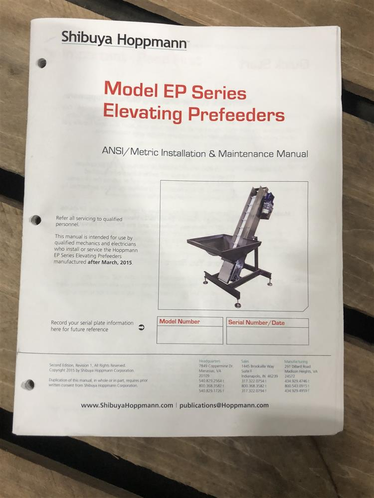 Image HOPPMANN Model EP-08 Elevating Prefeeder 1492206