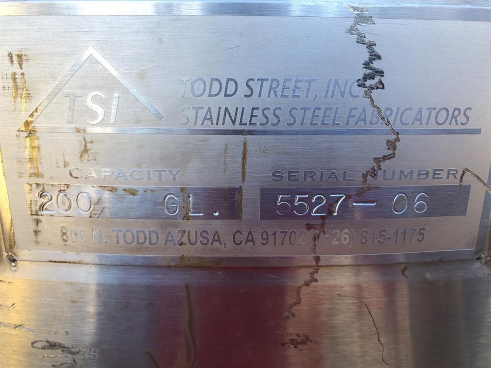 Image 200 Gallon TSI CIP Tank - Stainless Steel 1492873