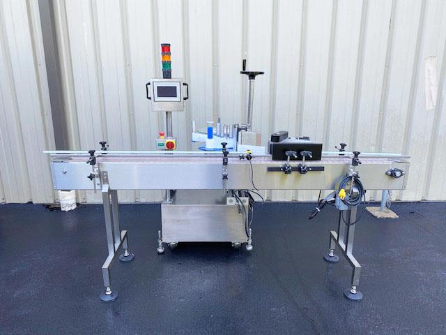 Image LABELON Pressure Sensitive Wipe-On Labeler with Wrap Station and Conveyor 1495607