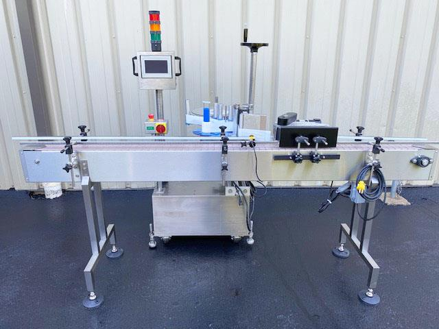 Image LABELON Pressure Sensitive Wipe-On Labeler with Wrap Station and Conveyor 1495608