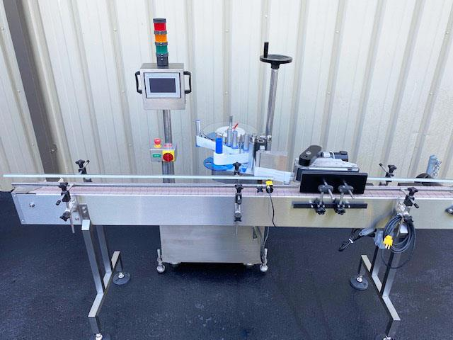 Image LABELON Pressure Sensitive Wipe-On Labeler with Wrap Station and Conveyor 1495609