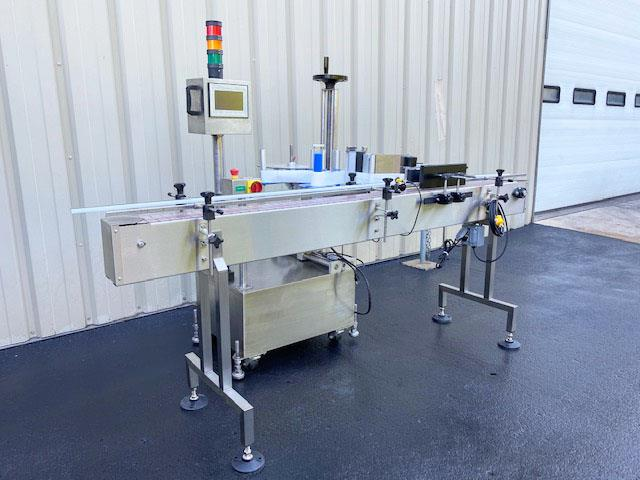 Image LABELON Pressure Sensitive Wipe-On Labeler with Wrap Station and Conveyor 1495610
