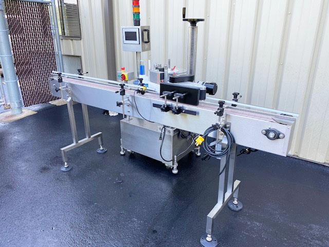 Image LABELON Pressure Sensitive Wipe-On Labeler with Wrap Station and Conveyor 1495612