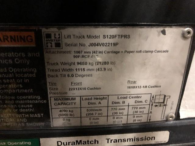 Image HYSTER S120FTPRS Forklift 1495791