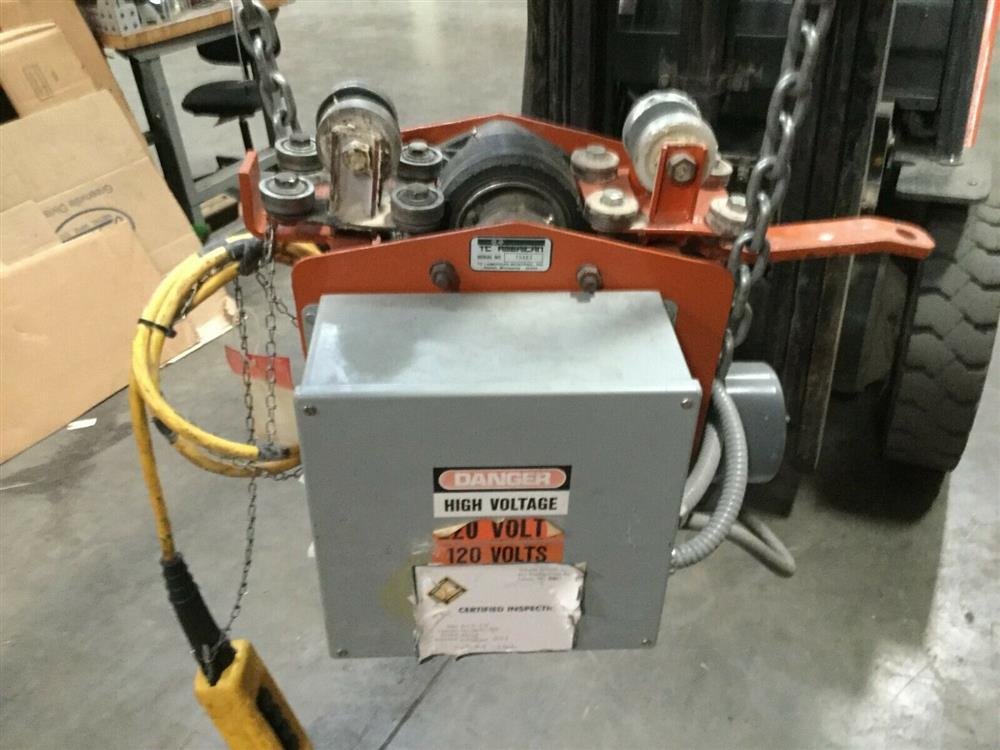 Image 1 Ton TC AMERICAN MONORAIL Trolley Electric Hoist 1501273