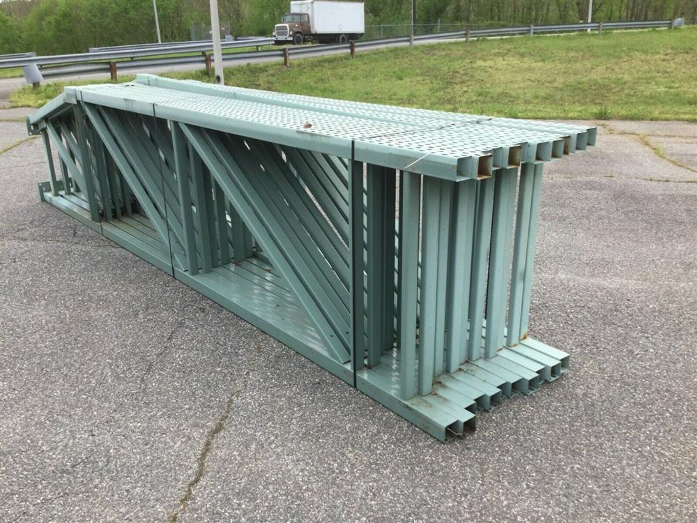 Image Lot of 11 Upright Tear Drop Style Pallet Racking 1519741