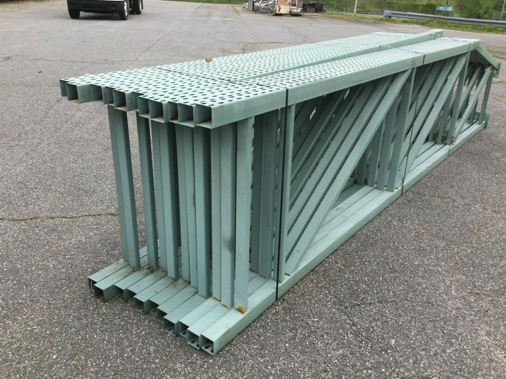 Image Lot of 11 Upright Tear Drop Style Pallet Racking 1519743