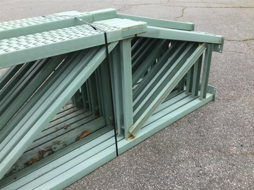 Image Lot of 11 Upright Tear Drop Style Pallet Racking 1519745