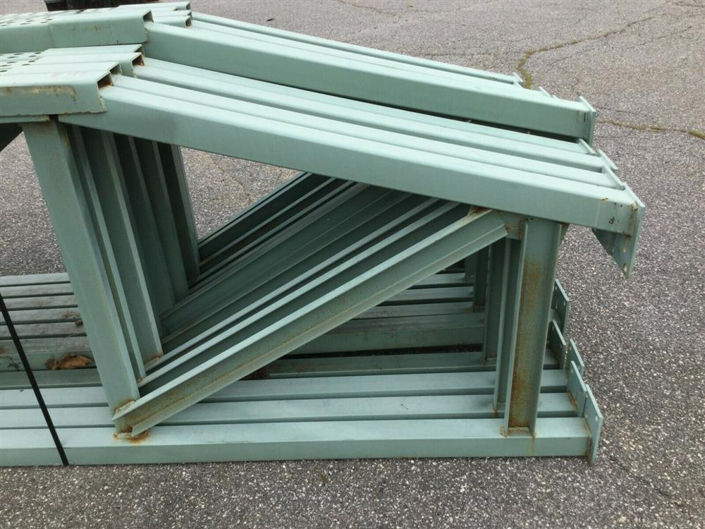 Image Lot of 11 Upright Tear Drop Style Pallet Racking 1519746