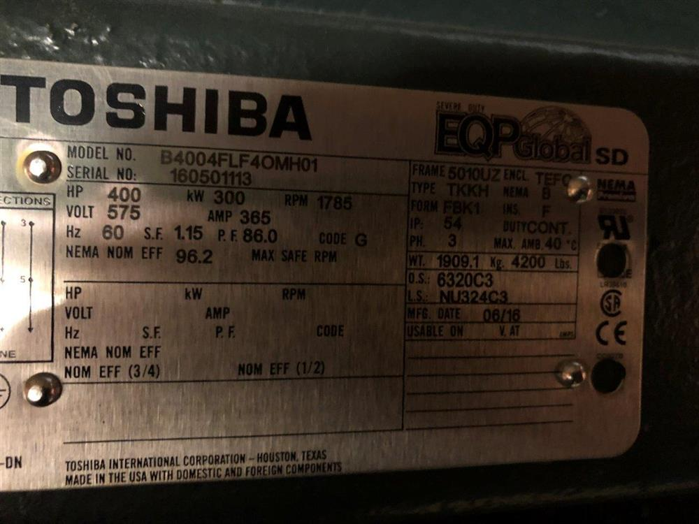 Image 400 HP TOSHIBA Motor - 1800 RPM 575 Volt 5010UZ TEFC 1519948