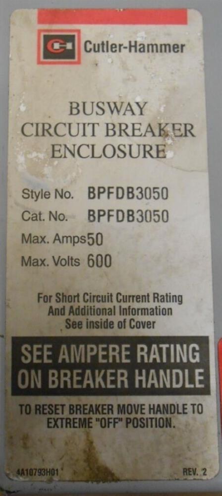 Image EATON CUTLER HAMMER Busway Circuit Breaker Enclosure 1519962