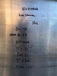 Image 600 Gallon High Shear Mixing Tank - 304 Stainless Steel 1526737