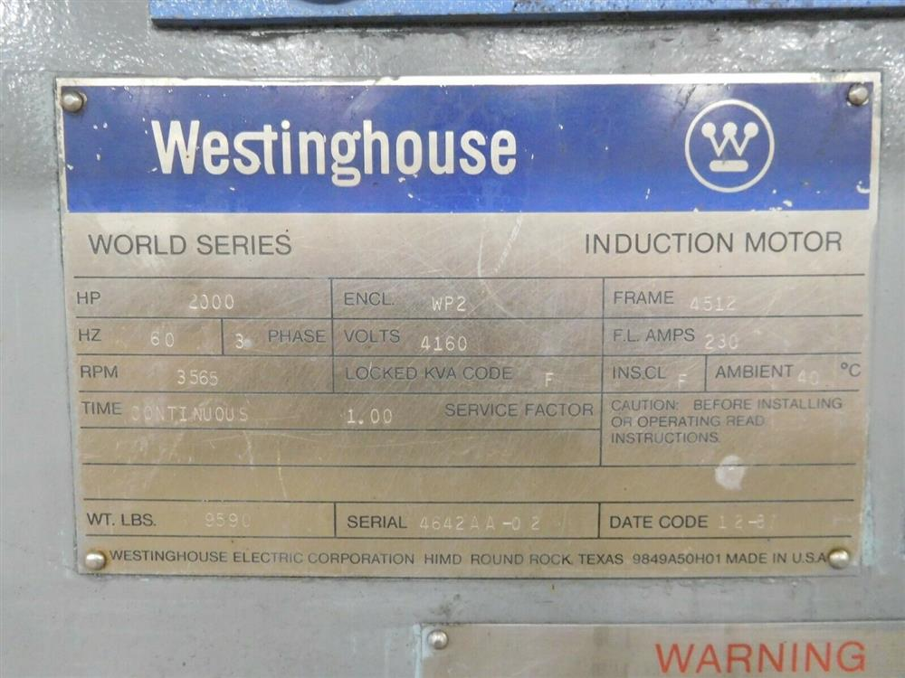 Image 2000 HP WESTINGHOUSE World Series Induction Motor 1527815