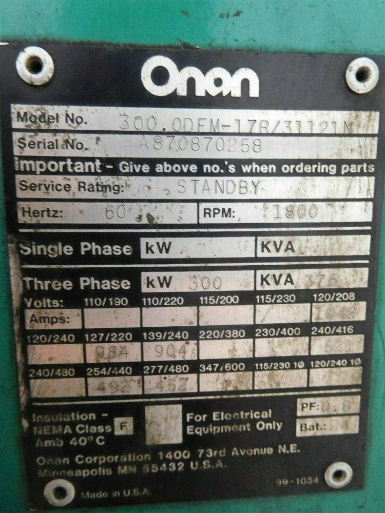 Image ONAN 300.ODFM-17R/31121N Genset Diesel Generator 1528335