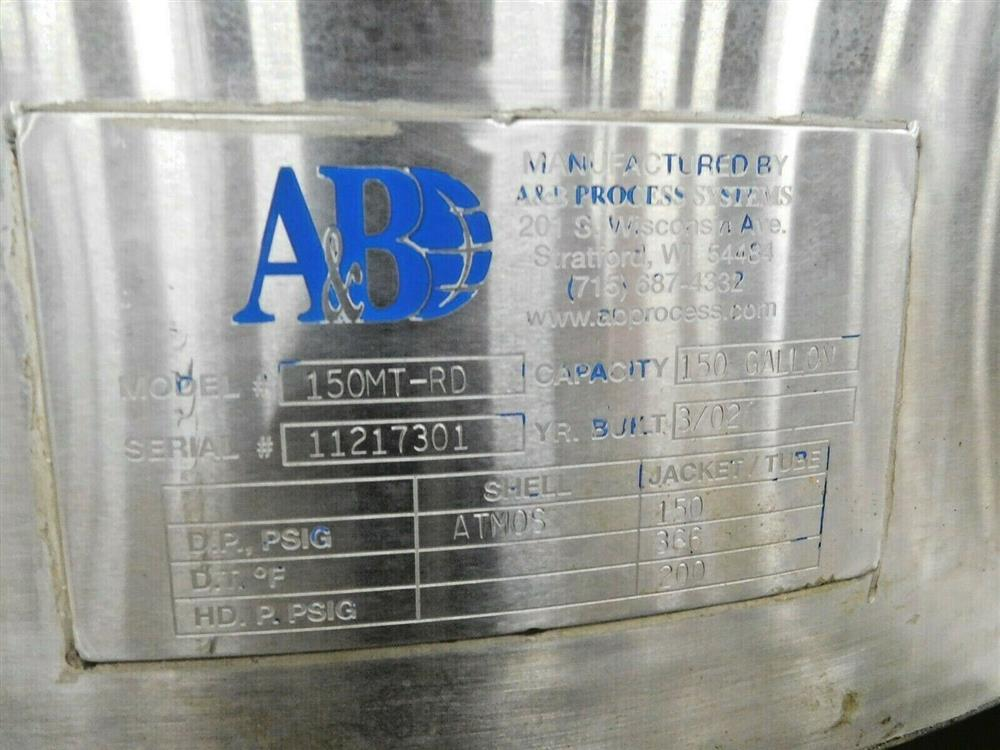 Image 150 Gallon A&B PROCESS SYSTEMS Jacketed Tank with Racking 1531864