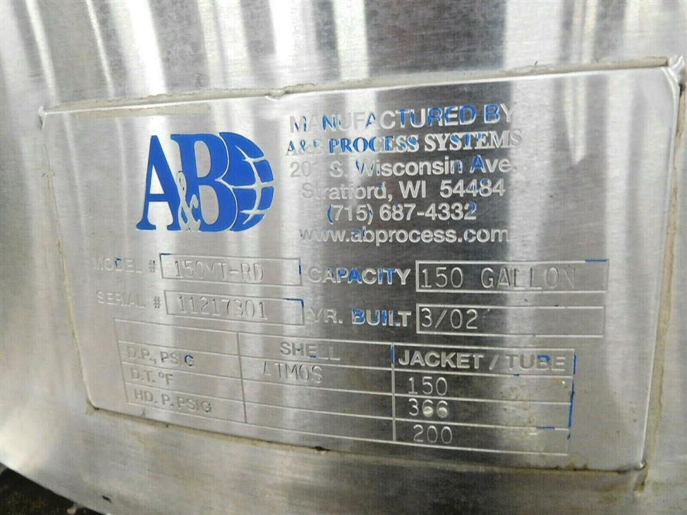 Image 150 Gallon A&B PROCESS SYSTEMS Jacketed Tank with Racking 1531865