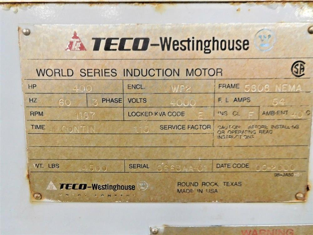 Image 400 HP WESTINGHOUSE TECO World Series Motor 1531962