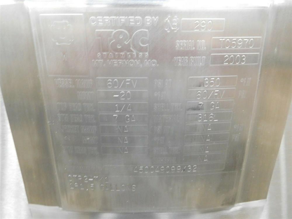 Image 181.5 Gallon T&C CIP2-TK1 Tank - Stainless Steel 1531991
