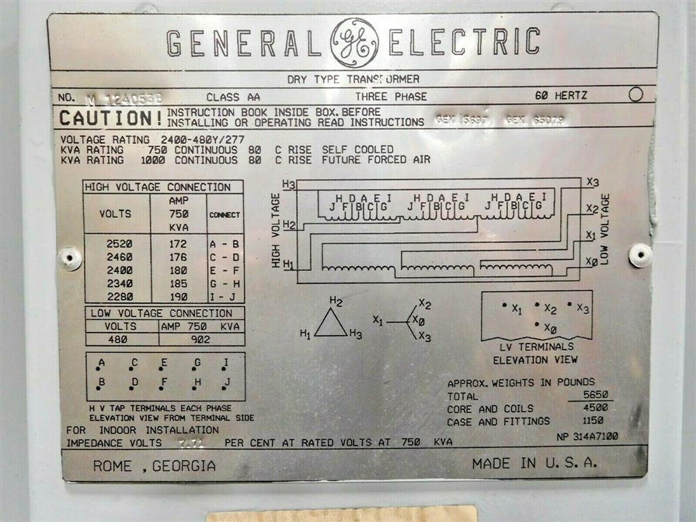 Image GE Dry Type Transformer - 750/1000 KVA  1532028