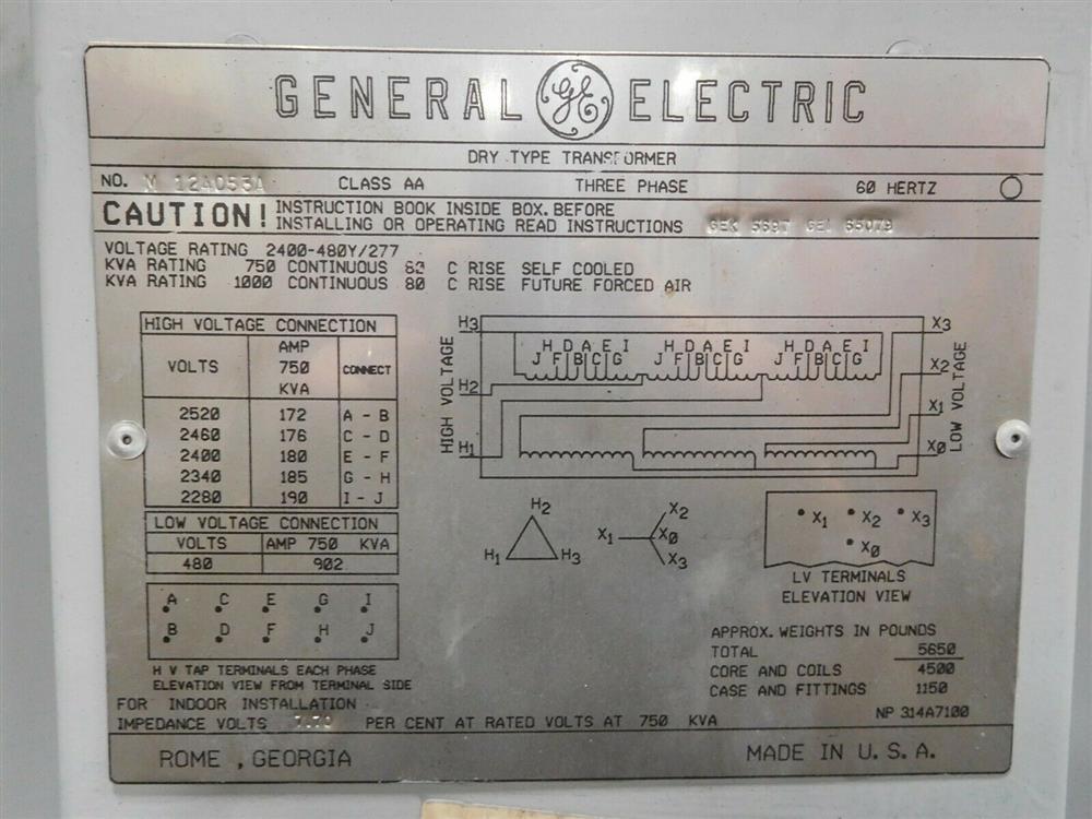 Image GE Dry Type Transformer - 750/1000 KVA 1532042