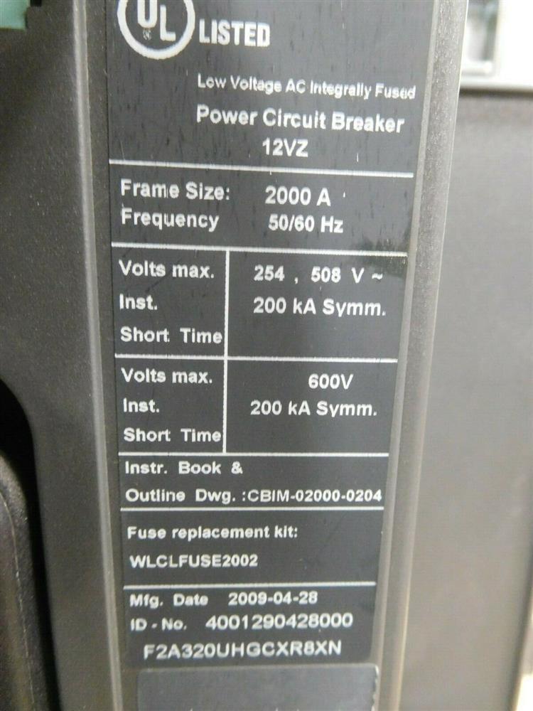 Image SIEMENS WLF2A320 Integrated Cubicle Bus Power Circuit Breaker 1532074