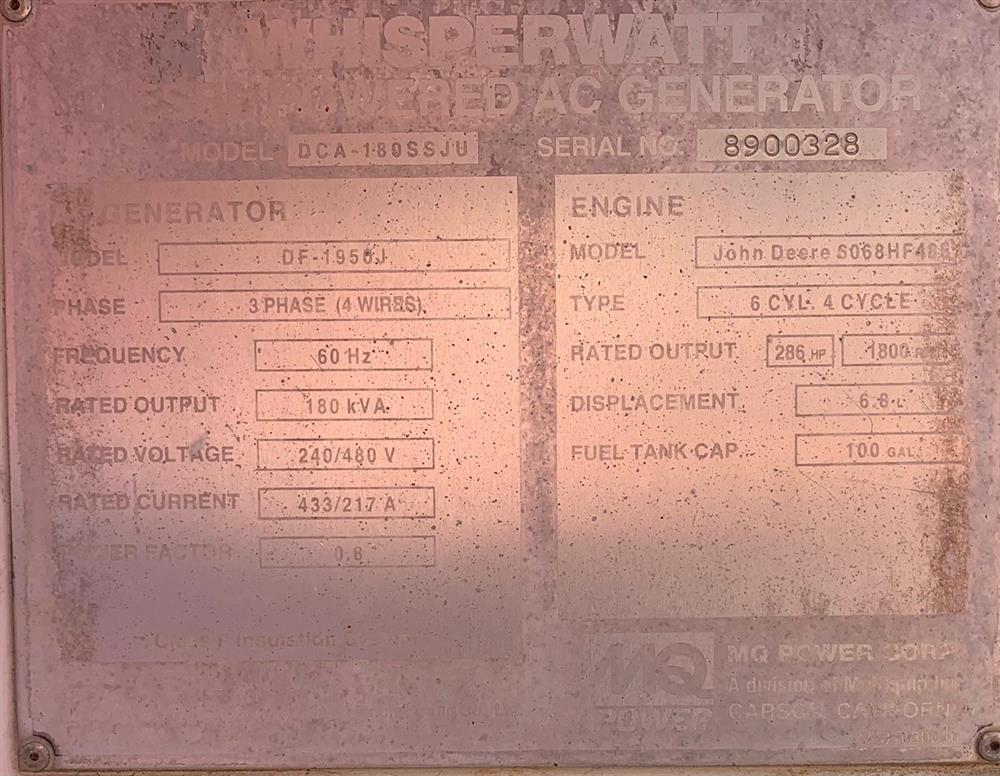 Image 150kW MULTIQUIP Portable Diesel Generator Set 1575744