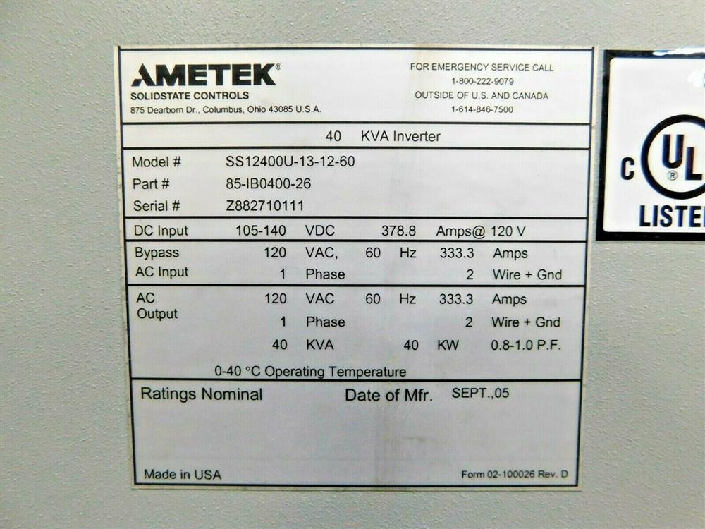 Image 40kVA AMETEK Power Inverter 1576045