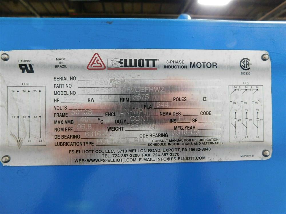 Image 600 HP FS ELLIOTT POLARIS P500-600 Compressor 1576079