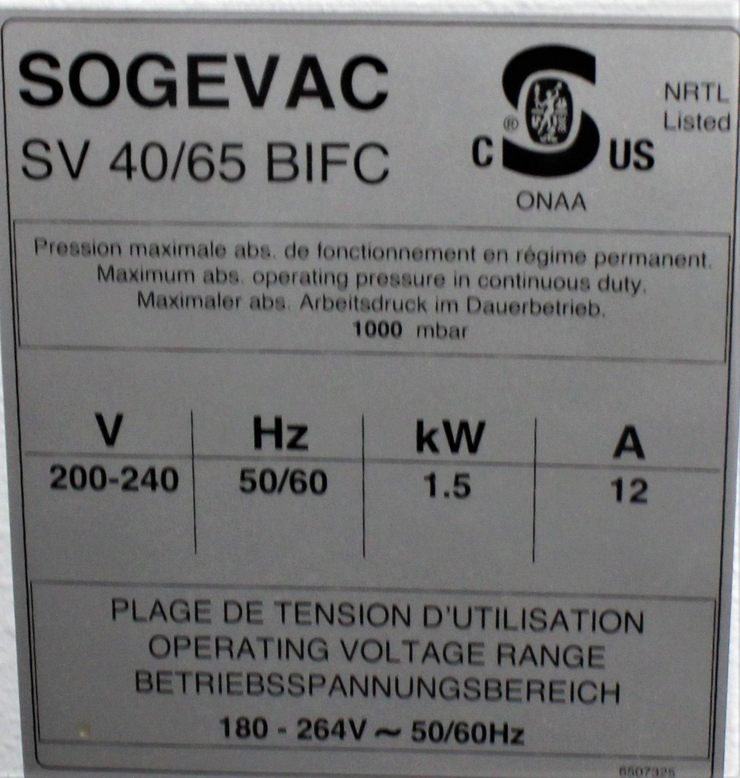 Image LEYBOLD SOGEVAC SV40/65 BI FC Single-Stage Oil-Sealed Rotary Pump 1587201