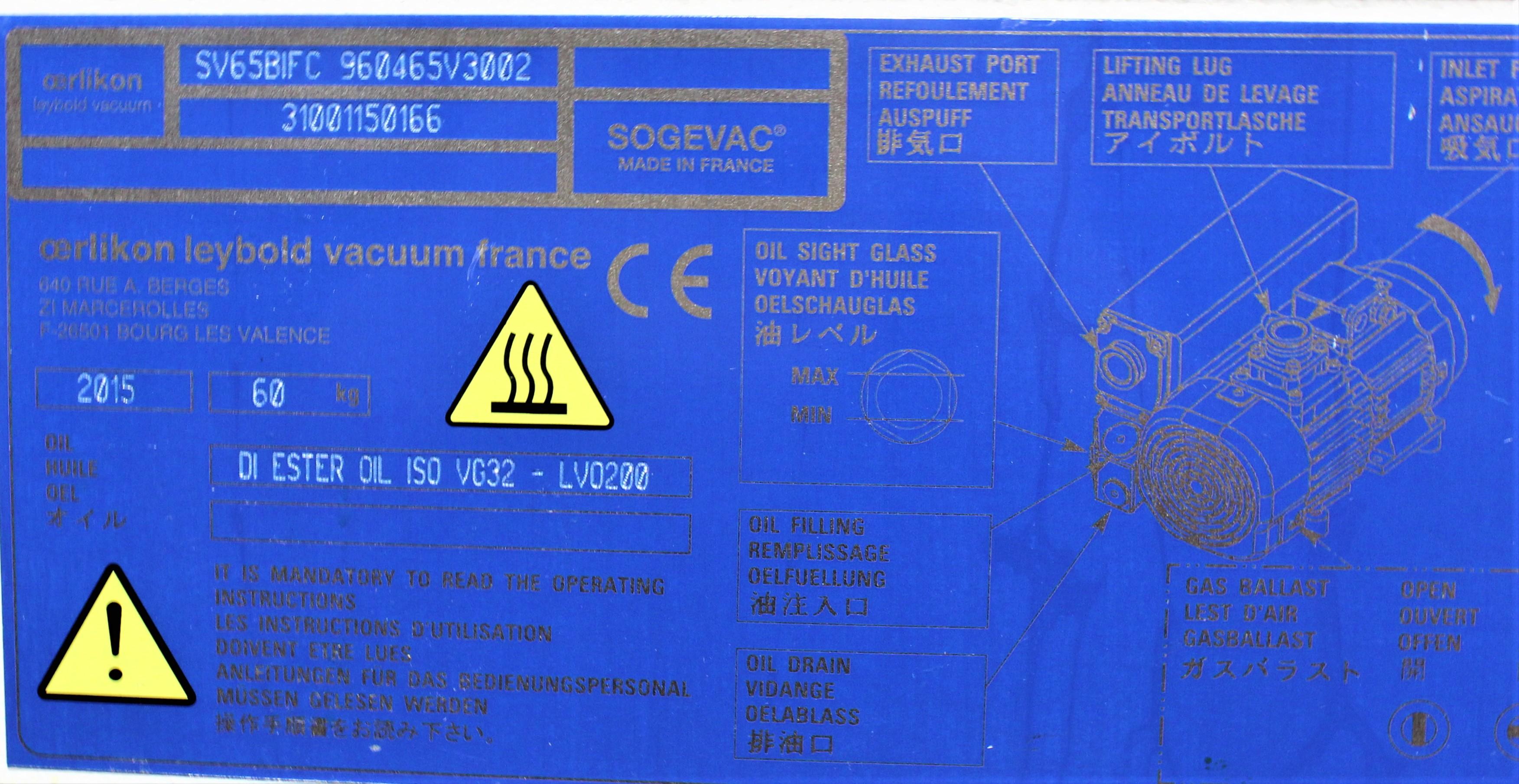 Image LEYBOLD SOGEVAC SV40/65 BI FC Single-Stage Oil-Sealed Rotary Pump 1587202